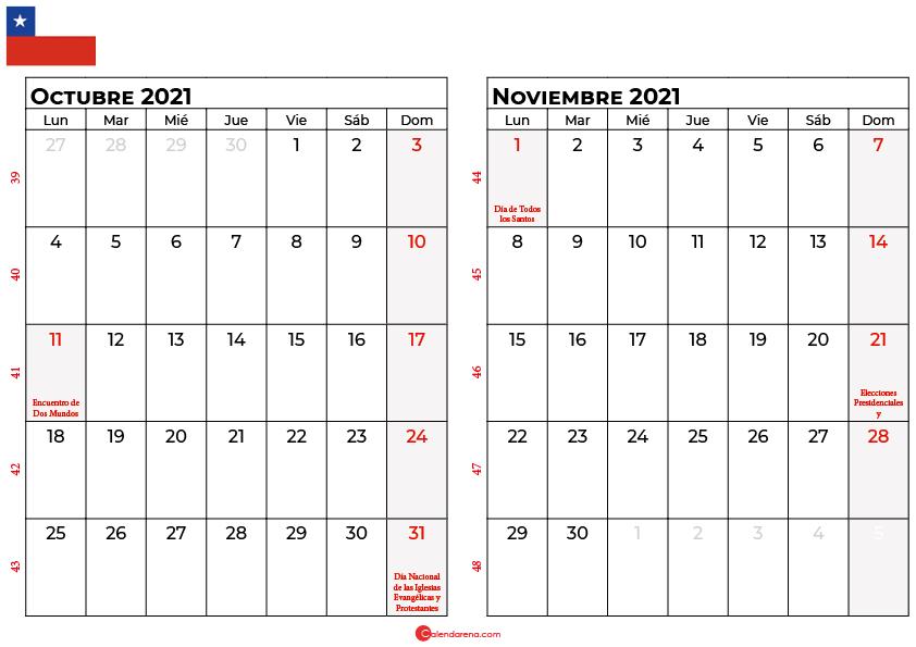 calendario octubre y noviembre 2021 chilie