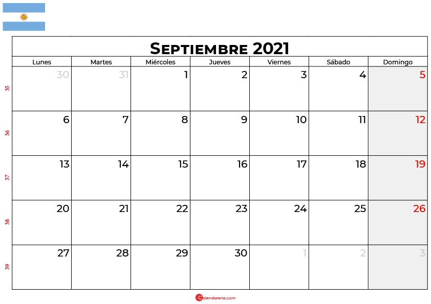 calendario septiembre 2021 argentina