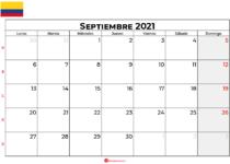 calendario septiembre 2021 colombia
