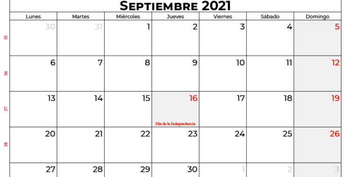 calendario septiembre 2021 mexico