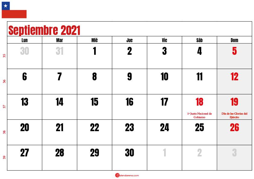 calendario septiembre 2021