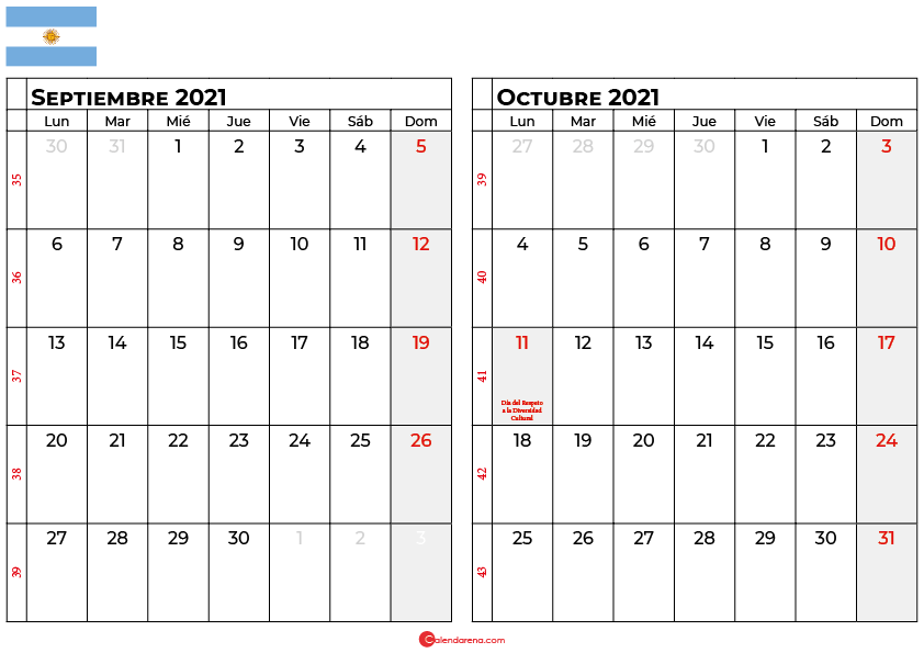 calendario septiembre octubre 2021 argentina