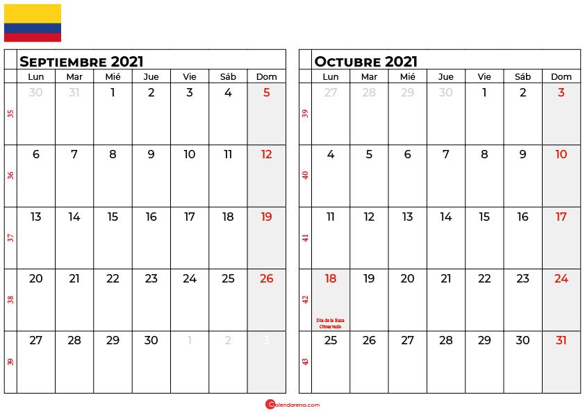 calendario septiembre octubre 2021 colombia