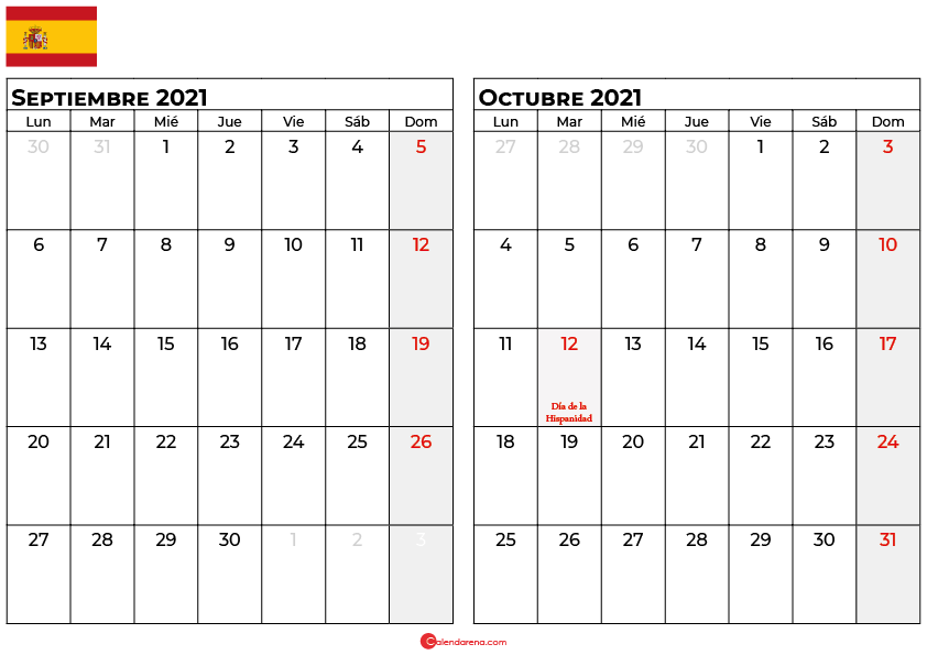 calendario septiembre octubre 2021 espana
