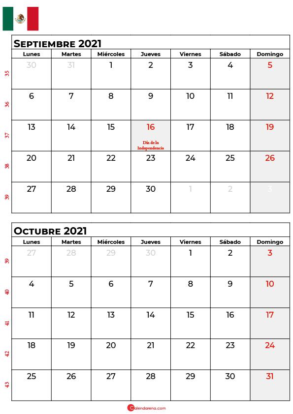 calendario septiembre octubre 2021 mexico
