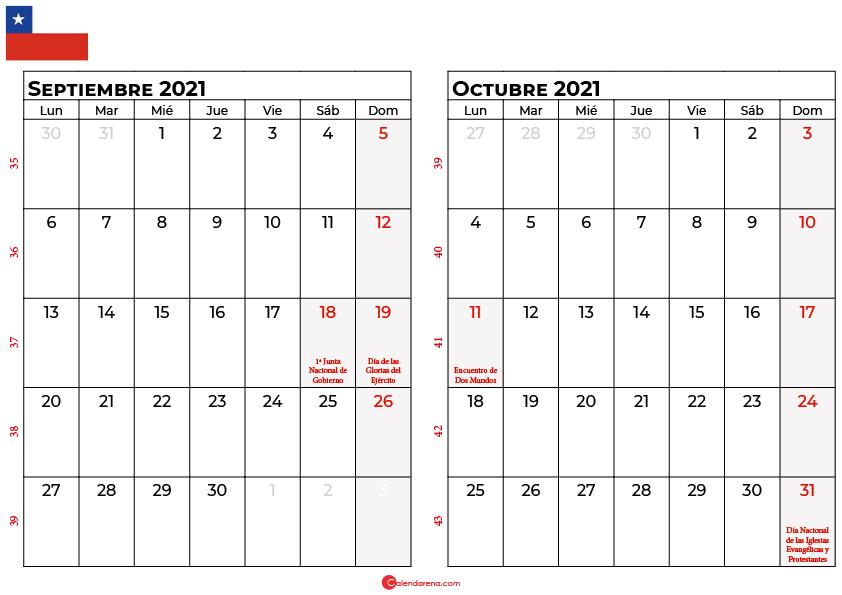 calendario septiembre y octubre 2021 chilie