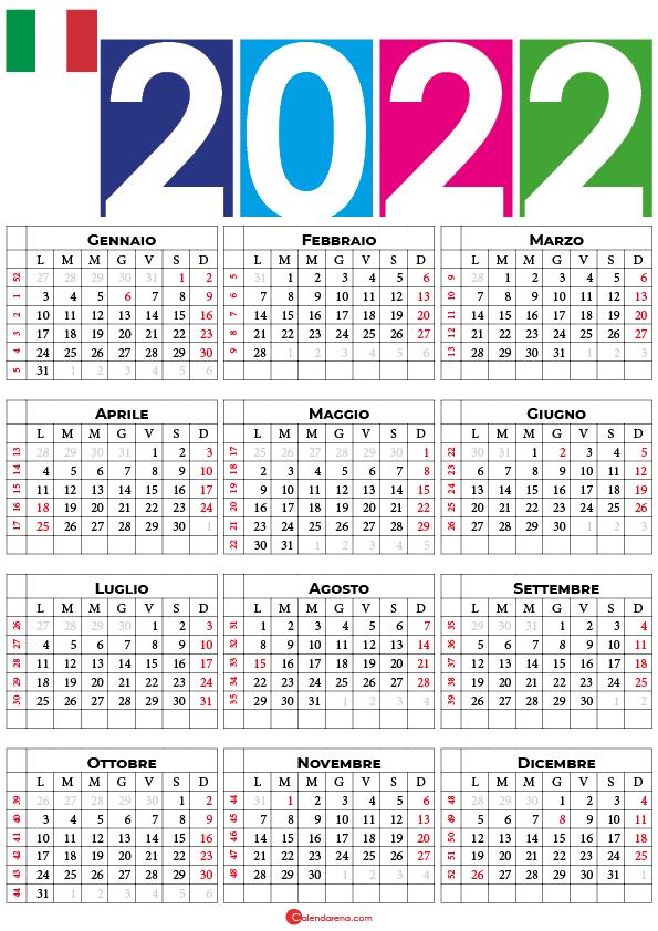 calendario settimane 2022