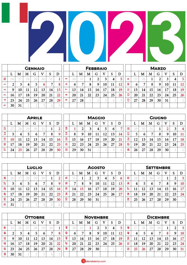 calendario settimane 2023