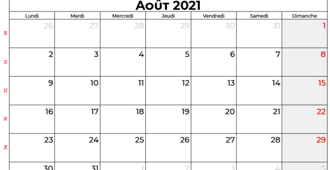 calendrier aout 2021 Quebec