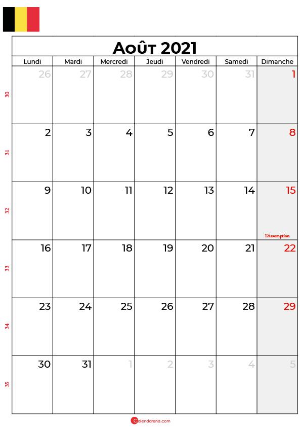 calendrier aout 2021 à imprimer belgique