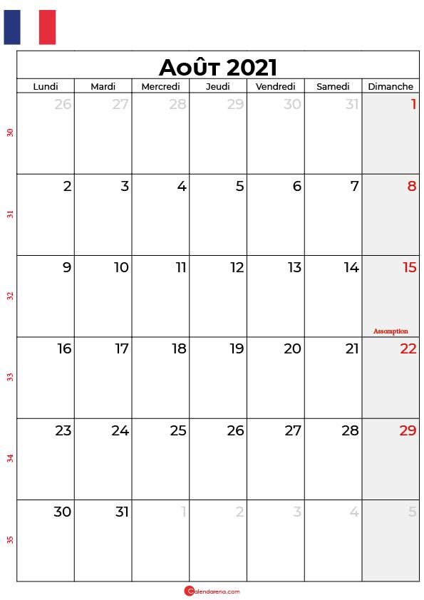 calendrier aout 2021 à imprimer france