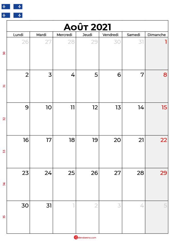 calendrier aout 2021 à imprimer quebec