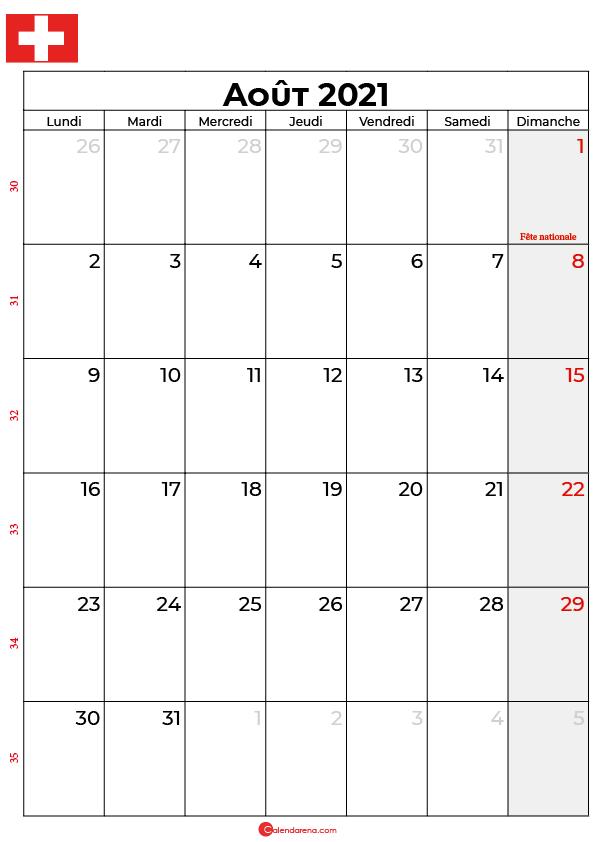 calendrier aout 2021 à imprimer suisse