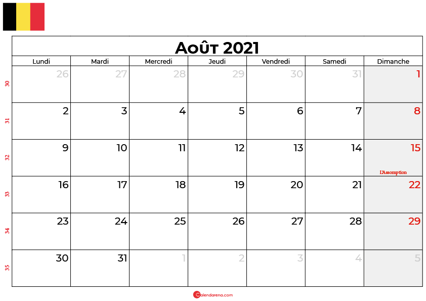 calendrier aout 2021 belgique