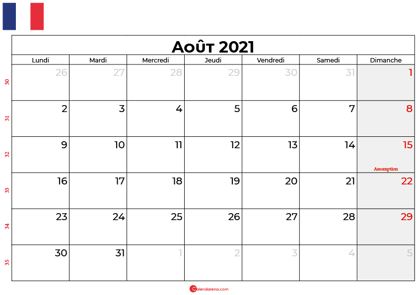calendrier aout 2021 france
