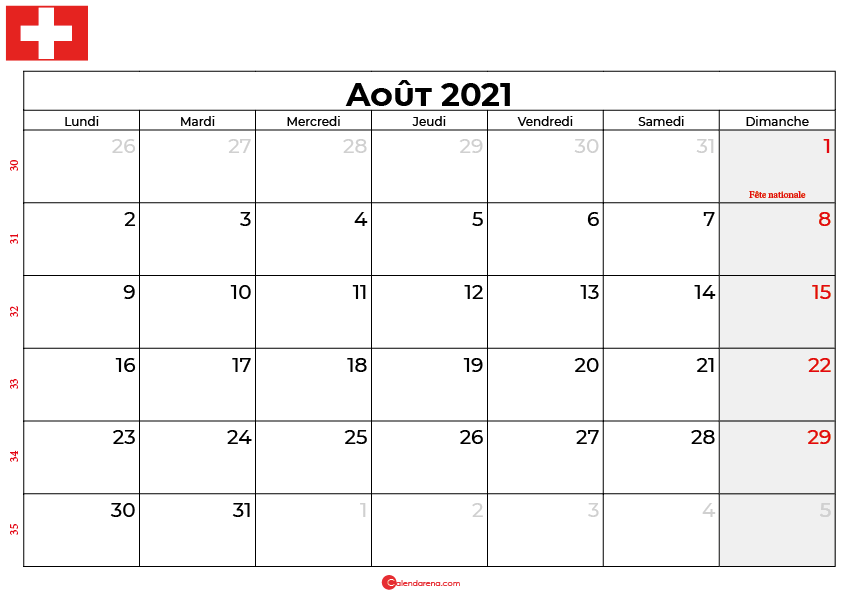 calendrier aout 2021 swisse