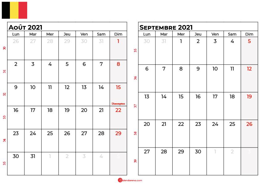 calendrier aout septembre 2021 belgique