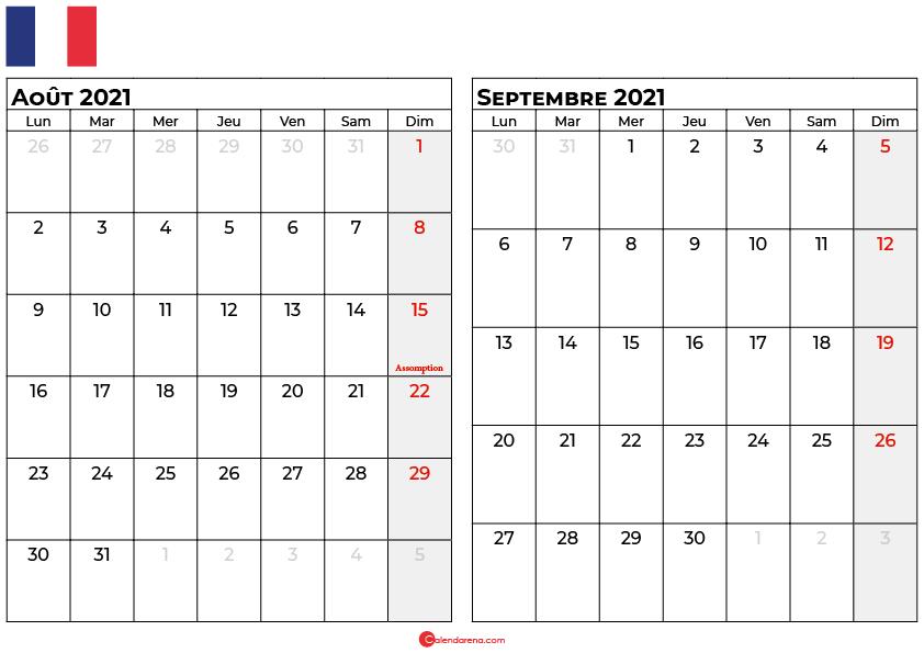 calendrier aout septembre 2021 france