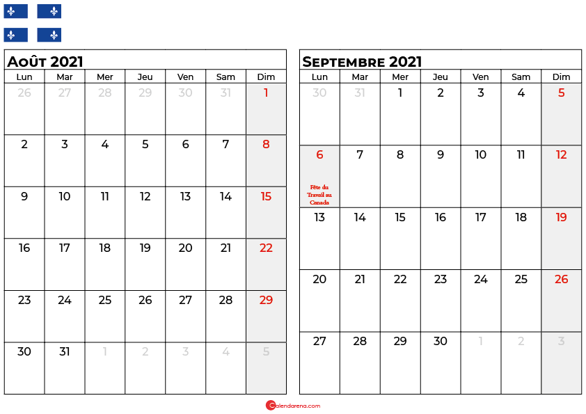 calendrier aout septembre 2021 quebec