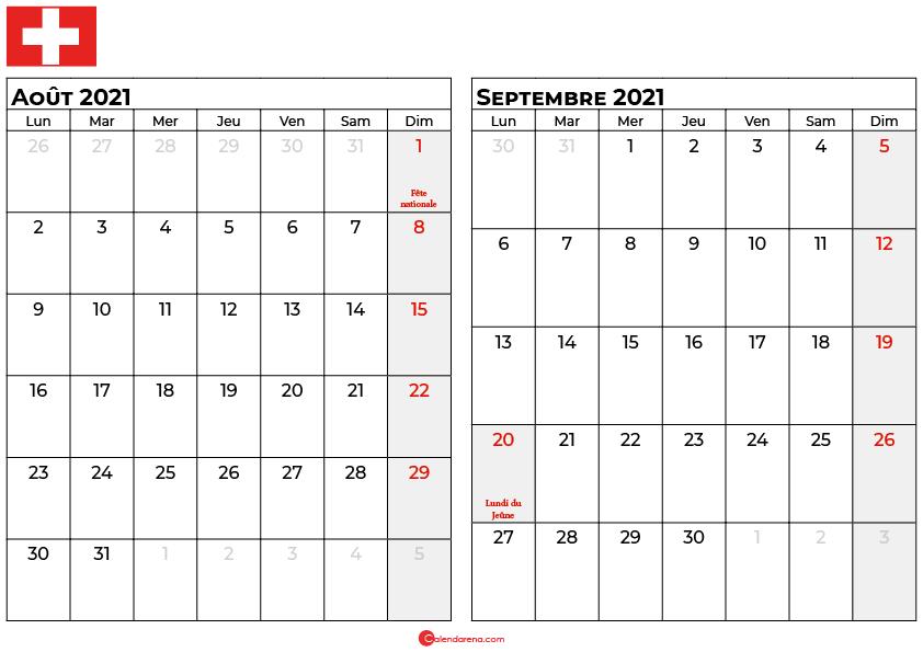 calendrier aout septembre 2021 suisse