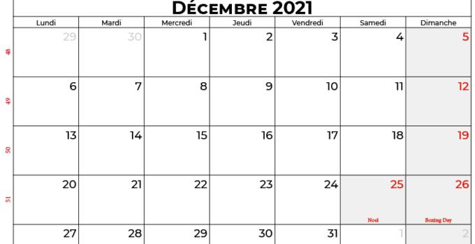 calendrier décembre 2021 Quebec