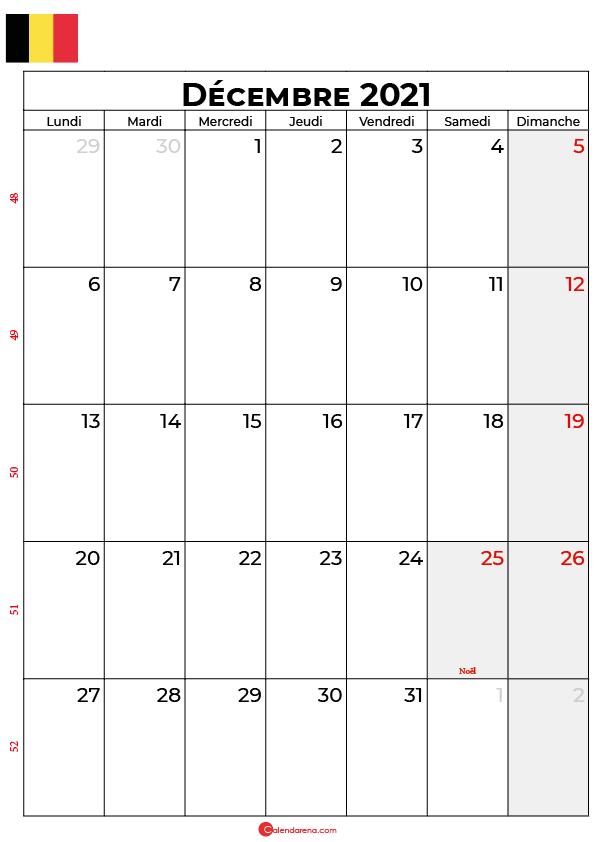 calendrier decembre 2021 à imprimer belgique