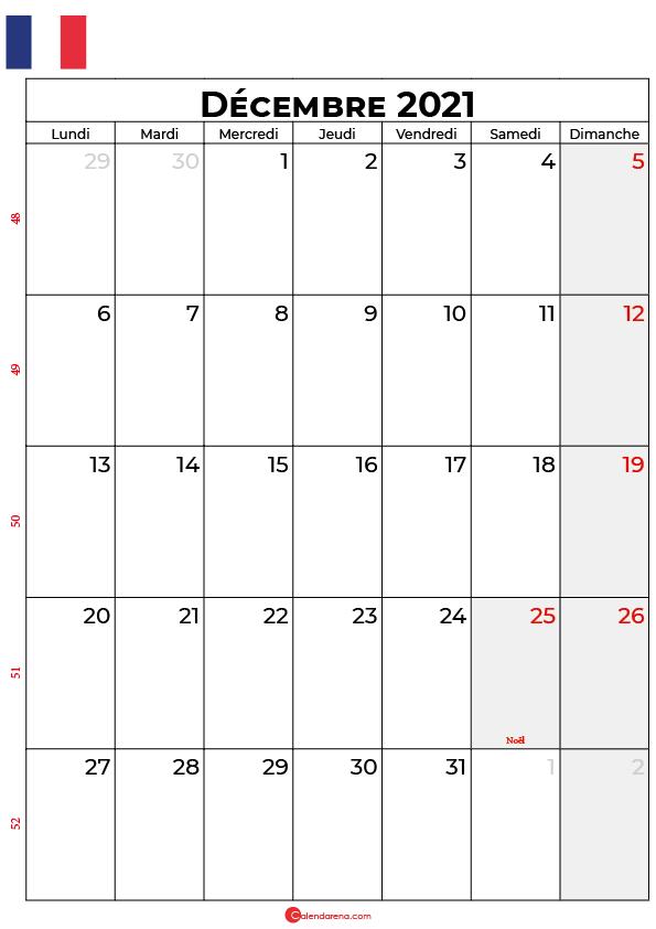 calendrier décembre 2021 à imprimer france