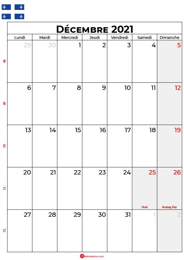 calendrier decembre 2021 à imprimer quebec
