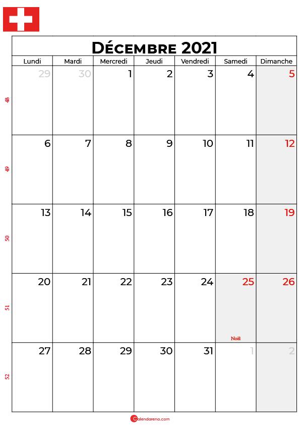 calendrier décembre 2021 à imprimer suisse