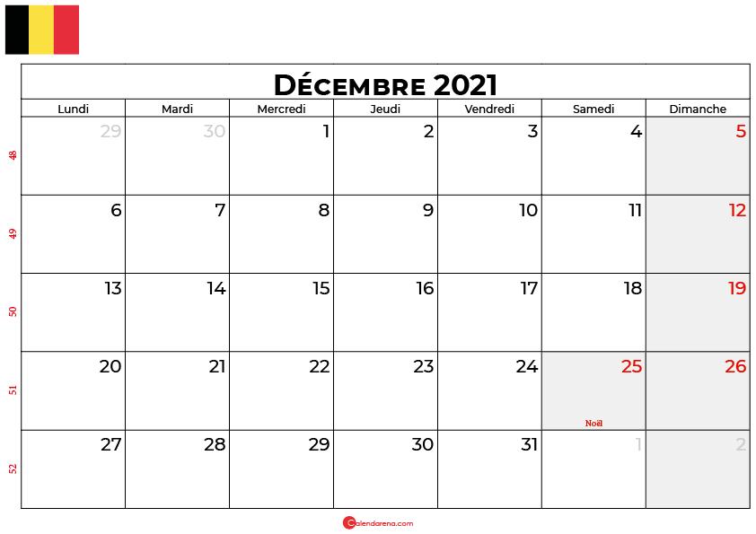 calendrier decembre 2021 belgique