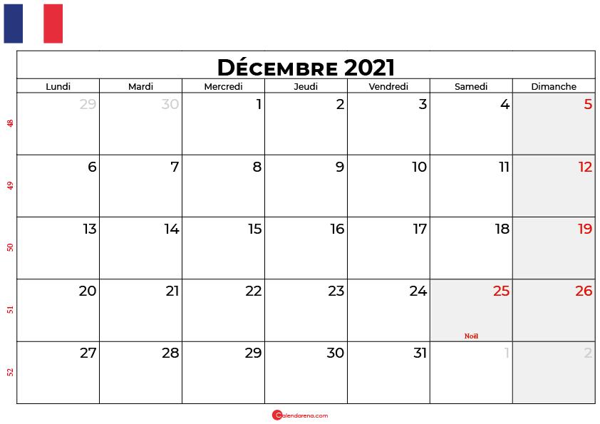 calendrier décembre 2021 france