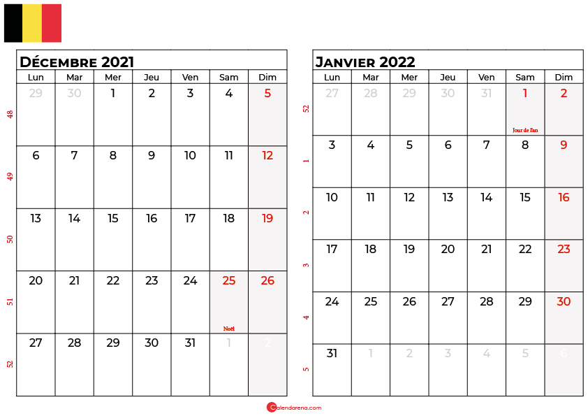 calendrier decembre janvier 2022 belgique