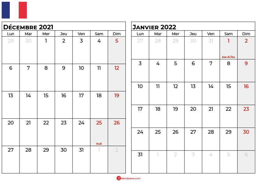 calendrier decembre janvier 2022 france