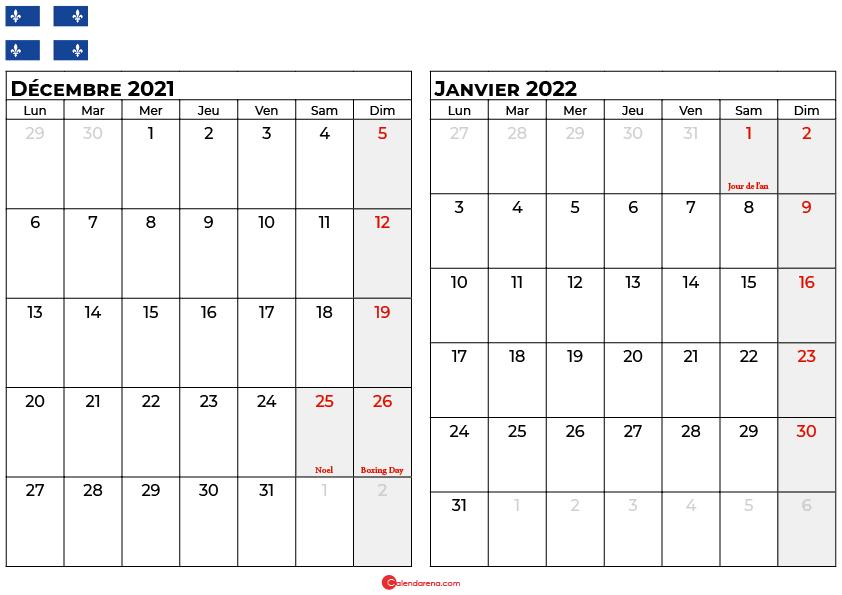 calendrier decembre janvier 2022 quebec