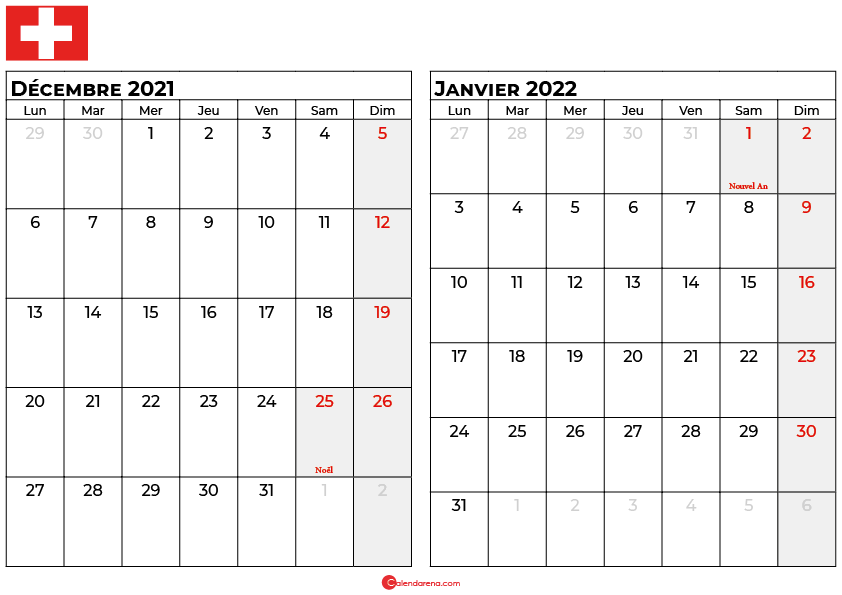 calendrier décembre janvier 2022 suisse