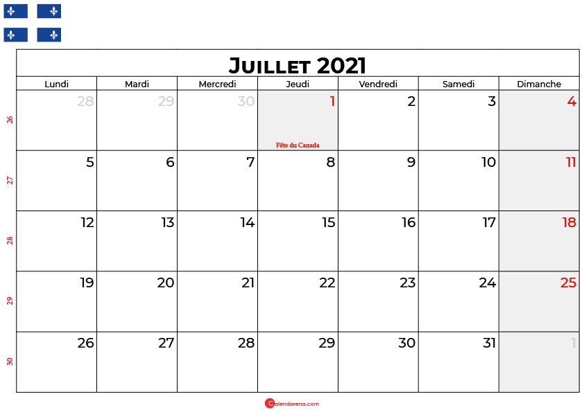 calendrier juillet 2021 Quebec