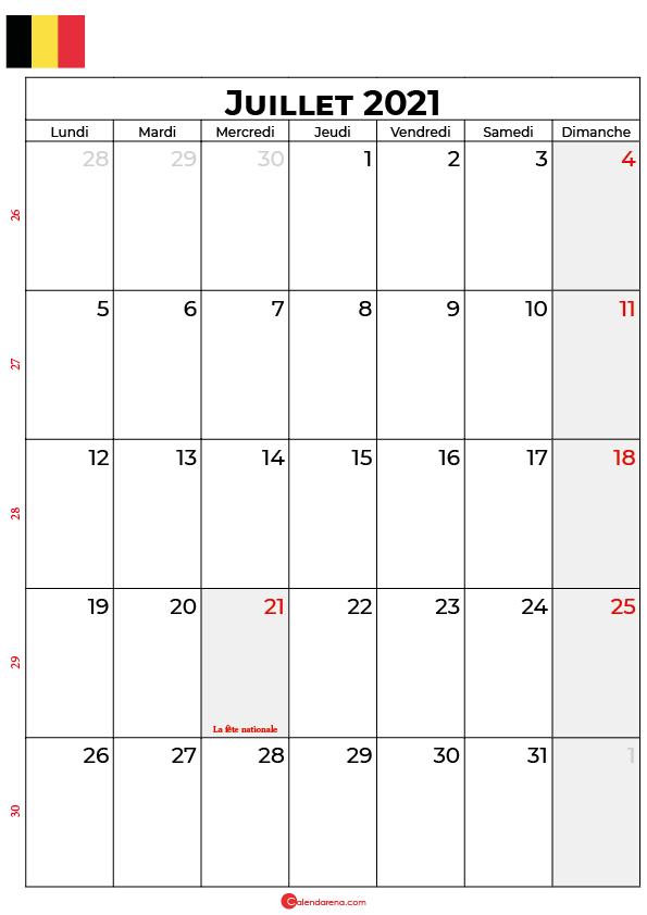 calendrier juillet 2021 à imprimer belgique
