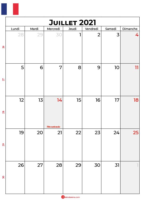 calendrier juillet 2021 à imprimer france