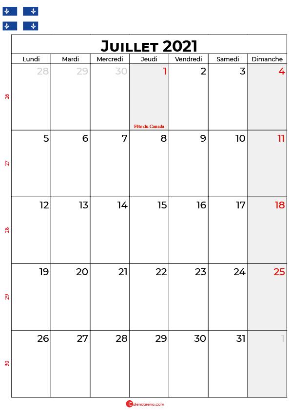 calendrier juillet 2021 à imprimer quebec