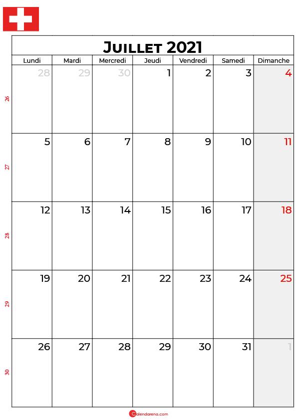 calendrier juillet 2021 à imprimer suisse