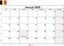calendrier juillet 2021 belgique
