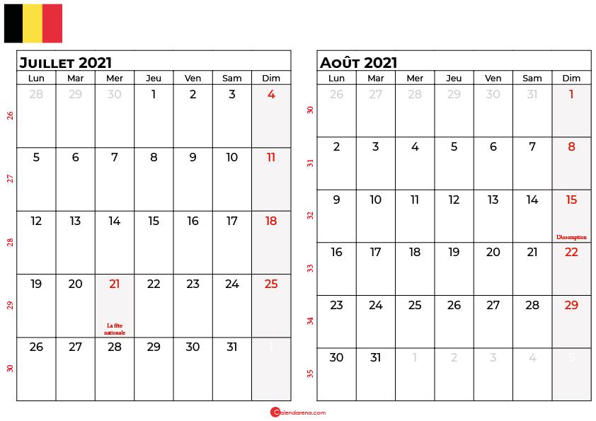 calendrier juillet aout 2021 belgique