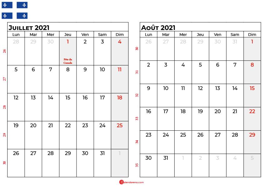 calendrier juillet aout 2021 quebec