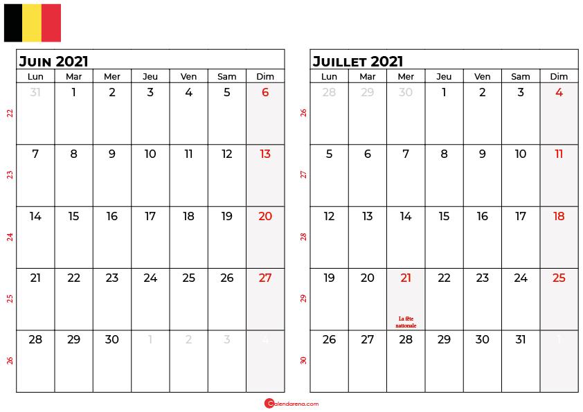 calendrier juin juillet 2021 belgique