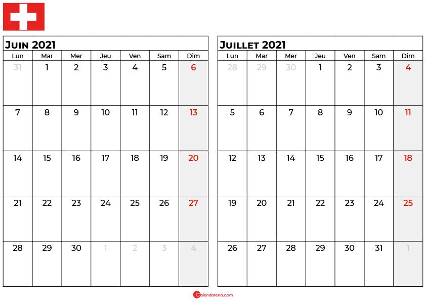 calendrier juin juillet 2021 suisse