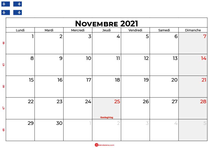 calendrier novembre 2021 Quebec