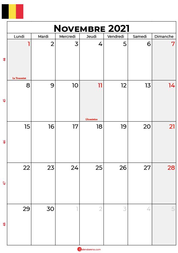 calendrier novembre 2021 à imprimer belgique