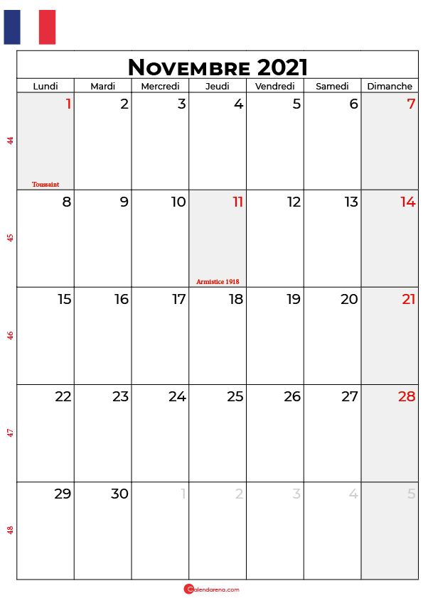 calendrier novembre 2021 à imprimer france