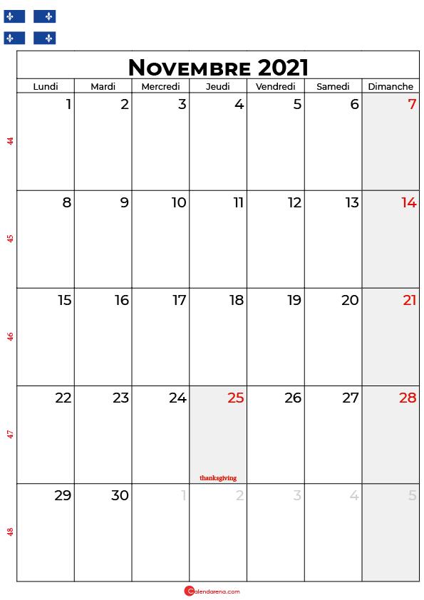 calendrier novembre 2021 à imprimer quebec