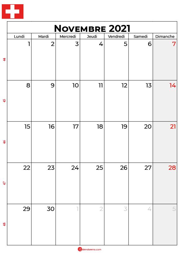 calendrier novembre 2021 à imprimer suisse
